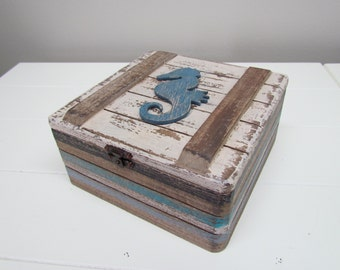 Wood Coastal Box with Seahorse