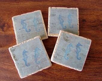 Coastal Style Tile Coasters with Seahorses