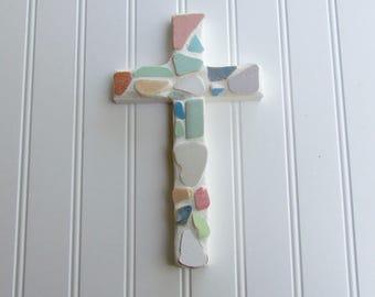 Beach Pottery Wall Cross