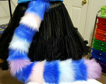 READY TO SHIP! Royal Blue and Pastel Rainbow Stripe Cat Tail