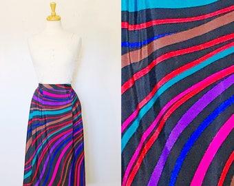 FREE SHIPPING// That 70s Swirl Skirt//1970s Purple Red Blue Striped Silk Blend Skirt