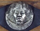 Vintage Jimi Hendrix belt buckle In memory of Jimi Hendrix leather rare original unique