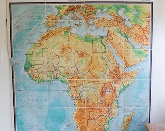Vintage Antique Mid-Century 1965 Denoyer-Geppert Huge Wall Map of Africa - RARE