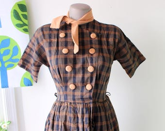 1960s MOD SCHOOL Girl Plaid Dress..size xs small..mod. 50s 60s dress. retro. day dress. twiggy. edie. sixties. seventies. fifties. checkered