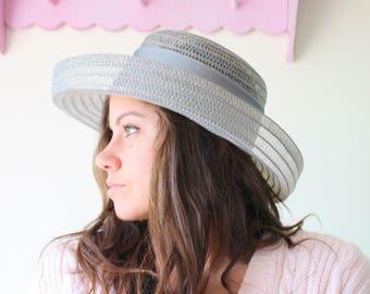 Vintage Mid Century Hat....straw hat. church. silver. summer. spring. easter. wedding. bride. costume. 1950s hat. 1960s hat. derby. fancy