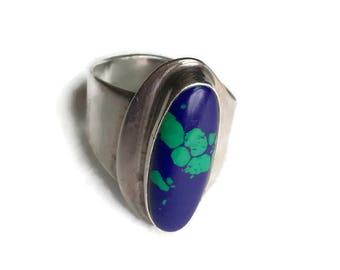 Vintage Azurite Adjustable Sterling Ring Signed by Artist Wayne de Santia