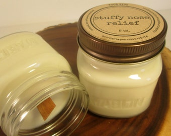 Stuffy Nose Relief 8 ounce Soy Mason Jar Candle // Wood Wick // Aromatherapy Scent