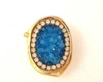 SUPER SALE Gorgeous Blue Druzy and white opal crystals gold ring
