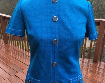 vintage blue short sleeved dress. A line shift. Cute 1960s or 1970s Summer or spring dress, Rontirri dress, costume for play