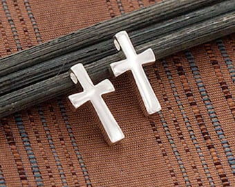 2 of 925 Sterling Silver Cross Charms 7.5x12mm.Polish Finished  :tm0167