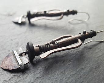 Mask -  Handmade primitive ethnic bohemian mixed materials earrings