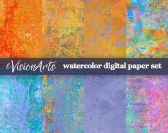 Watercolor Scrapbook Paper, Watercolor Digital Paper, Colorful Digital Papers Perfect for Scrapbooking, Digital Download