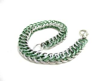 Half Persian 4:1 Chainmaille Bracelet - Silver & Seafoam Green