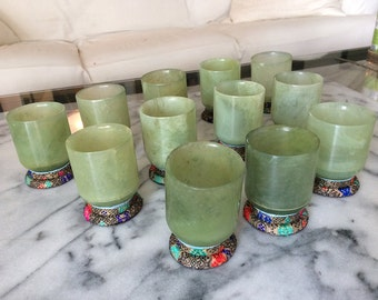 vtg JADE GREEN SERPENTINE Cups (12!) Silk bases Translucent, Gorgeous