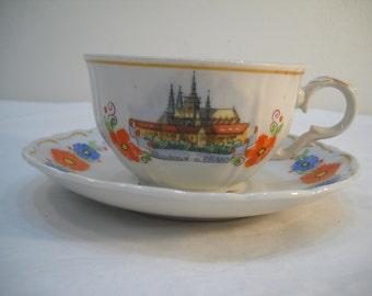 M Z Czechoslovakia Porcelain Teacup & Saucer Pozdrav Pramy FREE SHIPPING