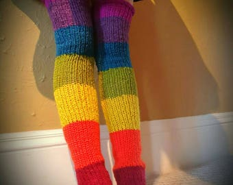 Chakra Rainbow pure wool legwarmers