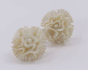 Vintage Faux Carved Style Plasitc Ivory Colored Off White Ornate Romantic Bridal Carnation Flower Dimensional Pierced Earrings