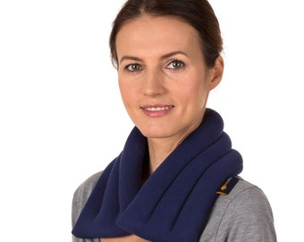 """6""""x26"""" Navy Blue Light Weight Extra Long and Wide Microwave Neck Heat Wrap, Flax Seeds, Anti-pil Fleece Cover"""