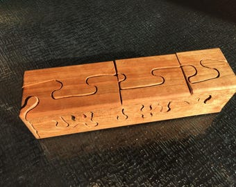Handcrafted 22 Piece Cherry Wood Puzzle Box with secret inner compartment