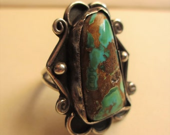 Huge Turquoise Ring Native American Blue Green 6 3/4