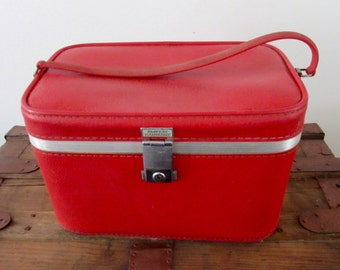 Amelia Earhart Red Suitcase Train Case Luggage