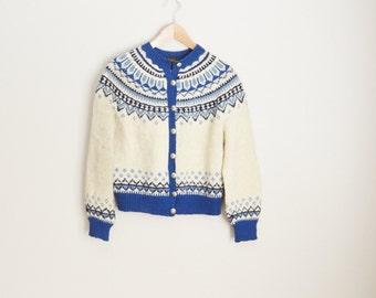 Vintage Norwegian Blue White Fair Isle Wool Cardigan Sweater // womens medium