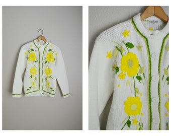 vintage 70s embroidered floral yellow white cardigan sweater -- womens small