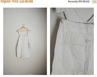 Vacation SALE - 10% off - vintage tan linen blend summer shortalls -- womens medium