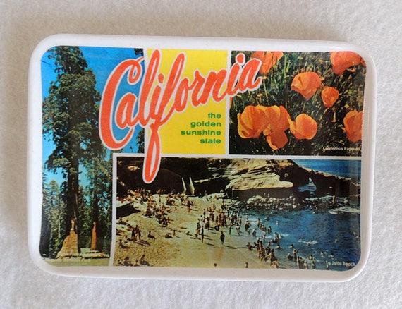 "Vintage Mid Century Melamine California Souvenir Tray 4"" x 6"".. Poppy.. La Jolla Beach"