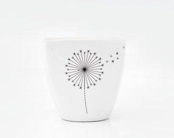 White Porcelain Mug with Dandelion, Yogurt pot, Milkshake cup