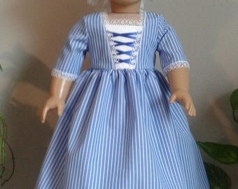 Colonial Blue and White Striped Day Dress  with Muslin Mob Cap for 18 Inch or AG Elizabeth or Felicity Doll