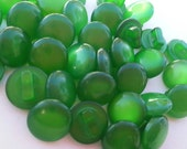 """35 Green Glassy Dome Shank Round Buttons Size 5/16""""."""