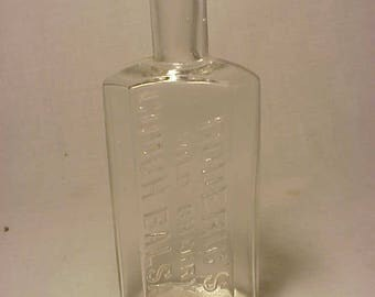 c1890s Roderic Wild Cherry Cough Balsam Portland Maine , Cork Top Clear Glass Medicine bottle No. 5