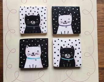 Black and White Cats and Polka Dots Sweet Ceramic Wall Tiles mounted on Board Wall Hanging