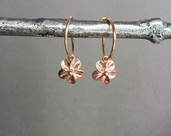 Rose gold flower earrings, hoop earrings, plumeria, everyday, minimalist jewelry E245