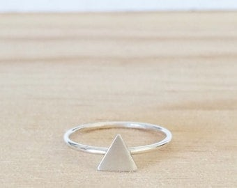 Tiny triangle ring / silver stacking ring / geo ring