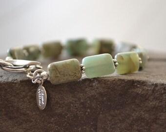 Aqua Terra Jasper Bracelet, Hazel Gemstone Jewelry, Toggle Bracelet, Natural Stone Bracelet