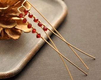Garnet Red Earrings, Red Crystal Earrings, Red Crystal Jewelry, Gold Red Earrings, Gold Red Jewelry, Birthstone Earrings, Birthstone Jewelry