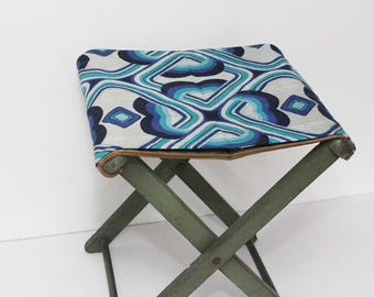 Vintage Folding Wooden Stool with 1960s Fabric Seat - Retro  - Blue & Green