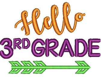 Hello Third Grade School Embroidery Design 5x7 6x10
