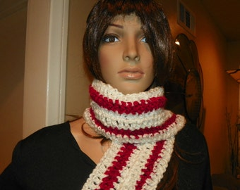 Red and White Scarf   Candy Cane Scarf    Ready to Ship