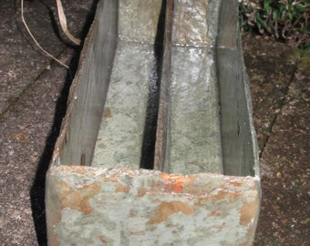 Long slate mail holder with two sections and cork on base #LLB-11
