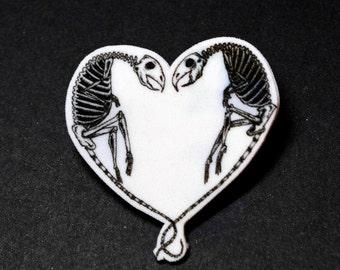 Mice skeleton heart pin