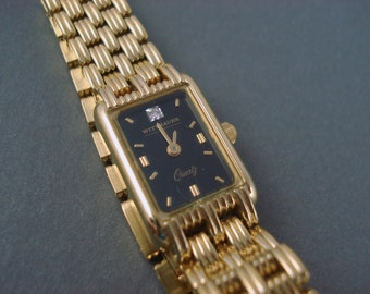 Witthauer Ladies Watch, Gold Tone with Black Face and Diamond Small