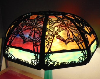Antique Mission Arts & Crafts Nouveau Tropical Sunset Stained Glass Table Lamp