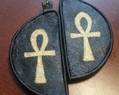 "Recycled leather with gold painted ankhs from the ""3D Collection"" earrings."