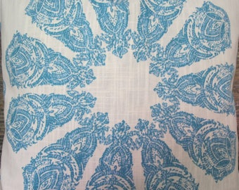 Designer Pillow Cover -  18 x 18, 20 x 20, 22x 22, Euro - Piru Medallion Block Print Turquoise