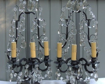 French Candelabra Lamps with Crystals, Electric French Candelabra Lights, French Lighting, French Candelabras Lamps with Prisms, Chanteclair