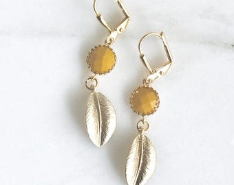 Sweet Mustard Yellow and Gold Leaf Drop Earrings in Gold. Jewelry Fashion Earrings.