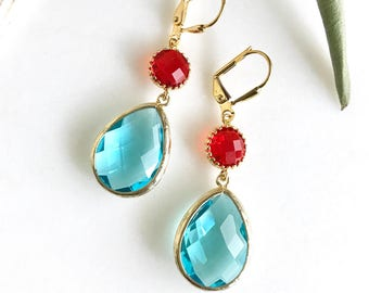 Aquamarine and Red Bridesmaid Earrings. Jewel Fashion Earrings. Red Turquoise Earrings. Aquamarine and Red Dangle Earrings. Drop Earrings.